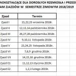 harmonogram zjazdów w semestrze I 2018_19