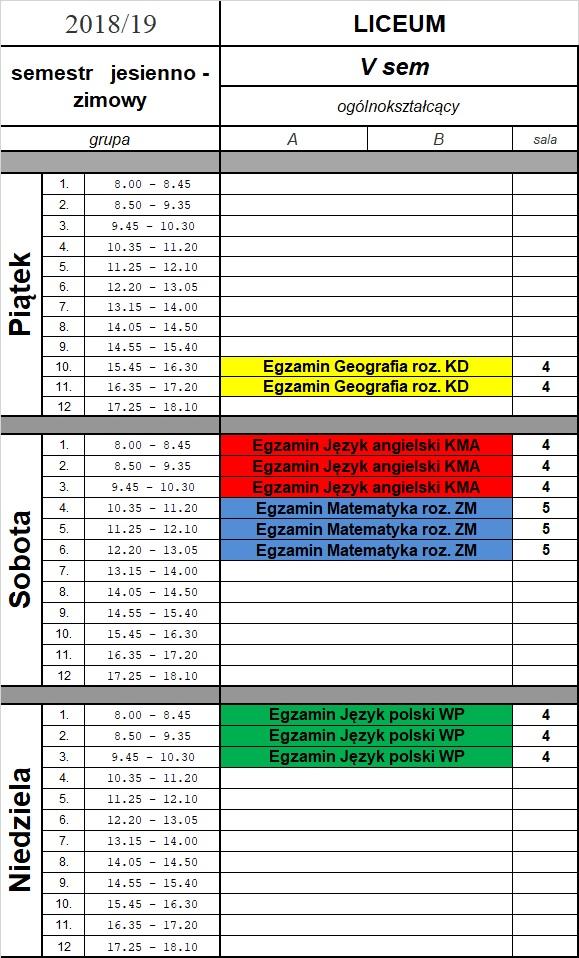 Egzaminy 11-13.1.01.2019