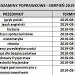 Egzaminy poprawkowe sierpień 2019r.